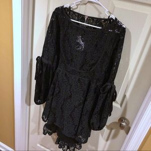 Free People Black Lace Dress - Long Sleeve